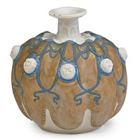 gourd-shaped cabinet vase with masks in pate-sur-pate by taxile doat