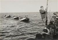 ensemble de huit photographies aux sujets divers : bateaux, chaloupes, militaires, plage, etc., palestine (8 works) by walter zadek