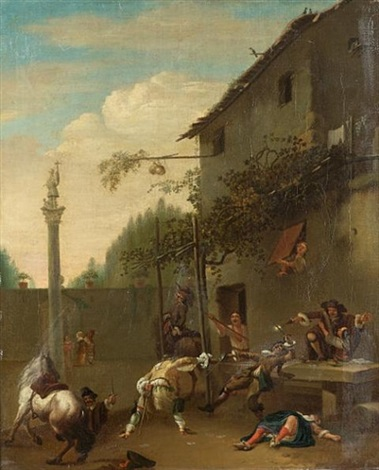 horsemen and soldiers fighting outside an inn by roeland van laar