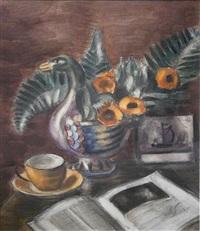 stilleven met koffie en krant by henri le fauconnier