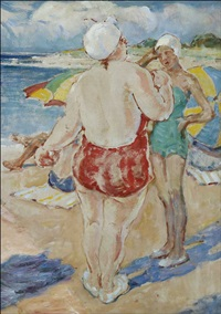 bathers on the beach by william chadwick