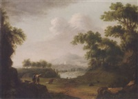 a wooded landscape with a shepherd surveying the area, his livestock resting near a path, and mountains beyond by scottish school (18)