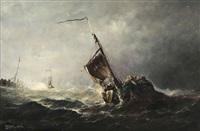voilier par temps orageux by johannes jacobus antonius hilverdink