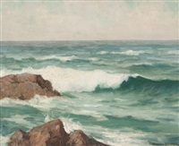 breakers, rocky seascape by maurice braun