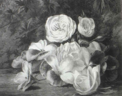 roses and other flowers on a mossy bank by thomas collins