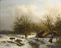 figures in a winter landscape, a town in the distance by alexander joseph daiwaille