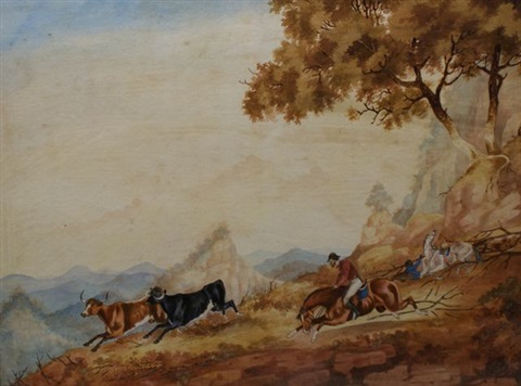 horseman rounding up cattle by george lacy