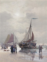 fisherfolk on the shore by william croxford edwards