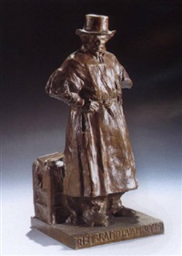 statuette of the dutch painter rembrandt van rijn by huib (huber marie) luns