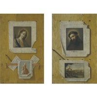 trompe l'oeil still life (+ another; pair) by andrea domenico remps