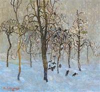 verger avec corneilles en hiver by albert saverys