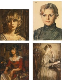 head of a blonde woman, woman in a black turtleneck, woman in a red dress and girl in a beige dress (4 works) by oleg grosse
