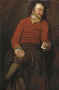 a study of a man, in a red vest, holding a snuff box in his left hand by julius quinkhardt