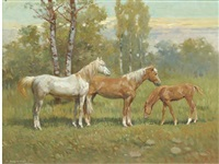 two horses and a foal in a landscape by giovanni sanvitale