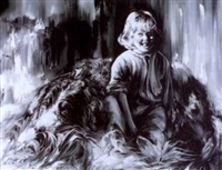girl with a large dog by elena mihilova