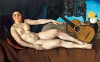 nude with guitar in the studio by czene janos apatfalvi