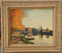barque sur l'étang en automne by jules alexis meunier