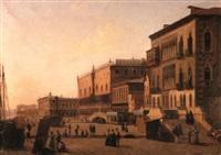figures on the riva degli schiavone, venice by alexandre raulin