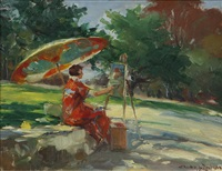 sketch of della shull thompson, woman in japanese costume painting en plein air under a parasol by charles lewis wrenn