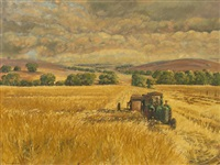 harvesting in the avon valley by clem ambler