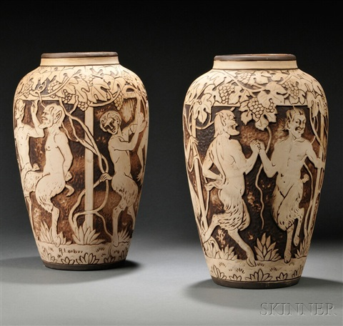 Large Weller Dechiwo Vases Pair By Rudolf Lorber On Artnet