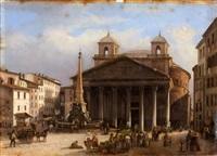 vue animée de la place du panthéon, rome by giovanni migliara