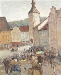 wochenmarkt in landsberg by adolf reile