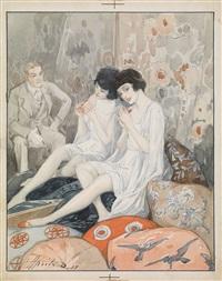 lady in her boudoir by aleksandr petrovich apsit
