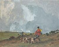 piqueux et ses chiens by jean victor albert de gesne