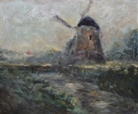 paysage au moulin by franz courtens