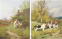 deux epagneuls (+ trois bassets; 2 works) by charles lemaitre