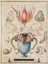 still life with flowers, insects and a snail by joris (george) hoefnagel
