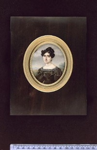 a lady (clemence berlier?) wearing fur-trimmed black dress, drop gold earrings, her black hair curled, landscape background by charles claude noisot