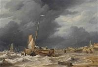 a botter braving a storm near scheveningen by nicolas baur