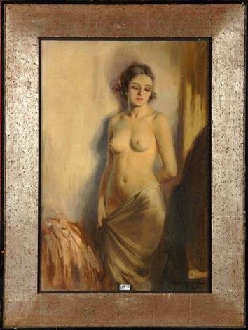 femme nue au drapé by charles van roose