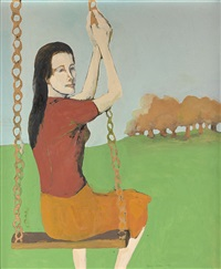 girl on a swing by benny andrews