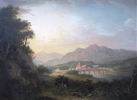 view of dunkeld on the river tay by alexander nasmyth