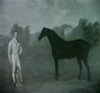 a black hunter in a park with his owner and his dog by george jackson