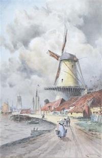 view of leydon (+ view of papendrecht; 2 works) by louis van staaten