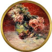 vase garni de roses by hubert van den bossche