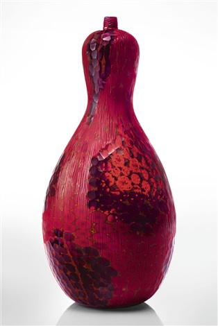 Unique Vase From The Murrine Rosse Incise Series By Yoichi Ohira On