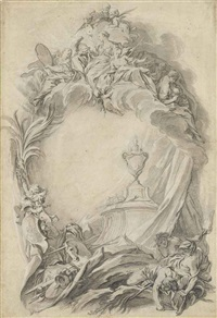 design for the title page for the tomb of king william iii of england by françois boucher