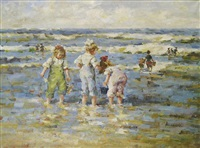 petites filles jouant sur la plage by charles garabed atamian
