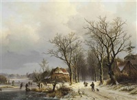 a wooded winter landscape with travelers on a snow covered path and skaters on the ice by johann bernard klombeck