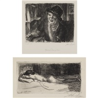 prone nude; rector's daughter (2 works) by john french sloan