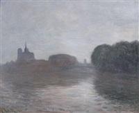 paris, la seine et notre-dame dans la brume by anatole eugène hillairet