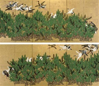 cranes and pine trees (+ another; pair) by kano toshun