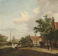 a town with figures working and conversing along a river, a windmill beyond by paulus constantijn la (la fargue) fargue