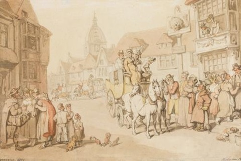 the arrival of a coach at the dolphin inn, greenwich by thomas rowlandson
