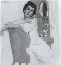 story illustration: woman seated in dressing room by joseph de mers